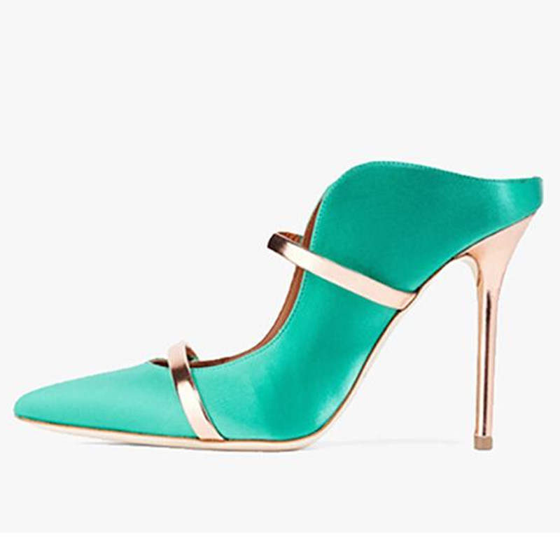 2018 Summer Women Satin Silk Pumps Pointed Toe 10CM Gold High Heels Slip on Shoes Double Gold Hoop Sexy Office Lady Pumps
