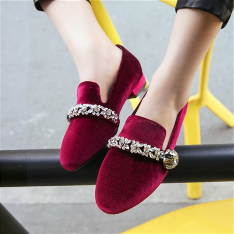 2017 New Women Summer Casual Shoes Genuine Leather Flock Round toe Crystal Comfort Woman Slip On Woman's Shoes Plus Size 34-43 new 2017 spring summer women shoes pointed toe high quality brand fashion womens flats ladies plus size 41 sweet flock t179