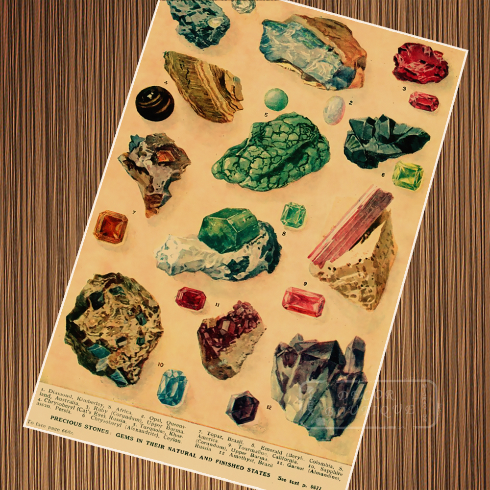 Vintage Mineral Rocks Colorful Crystals Illustration Retro Poster ...