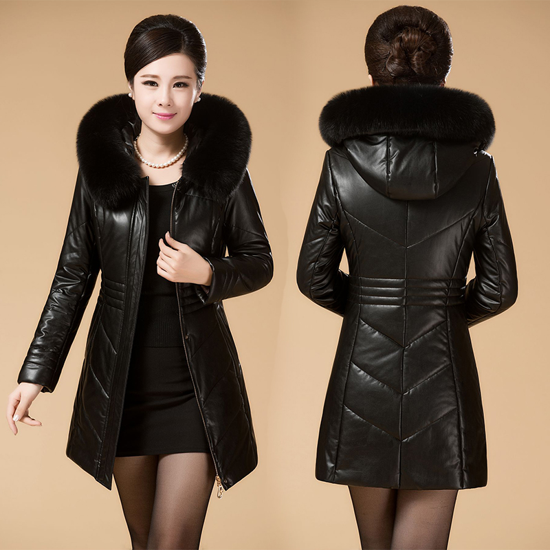 Faux leather jacket hood womens