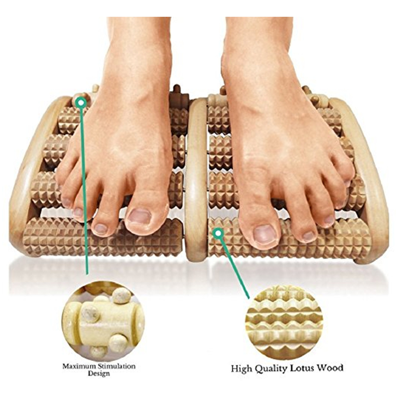 Stress Relief Wooden Dual Foot Roller Massager Relieve Plantar Fasciitis Acupressure/Reflexology Foot Massager Blood Circulation b12 foot 5 row wooden roll foot massager wooden roller stress relief body massage feet relax spa wood massager for foot care