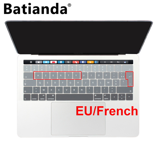 best sneakers 3112d a22ab US $7.02 20% OFF|EURO AZERTY Ultra Thin Soft Silicone Keyboard Cover  Protector For 2017 2018 Macbook Pro 13 15 Touch Bar A1706 A1707 A1989  A1990-in ...