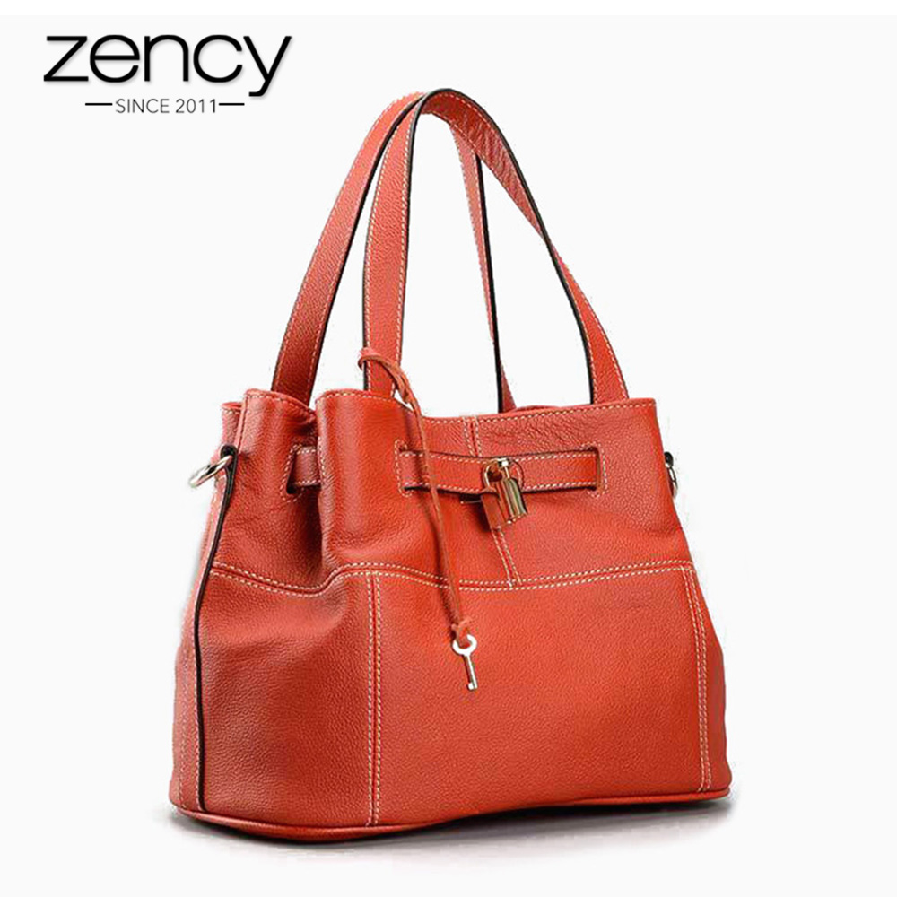 Zency 100% Genuine Leather Charm Orange Women Shoulder Bag Fashion Lady Messenger Handbag Lock Decoration bolso hombro mujeres