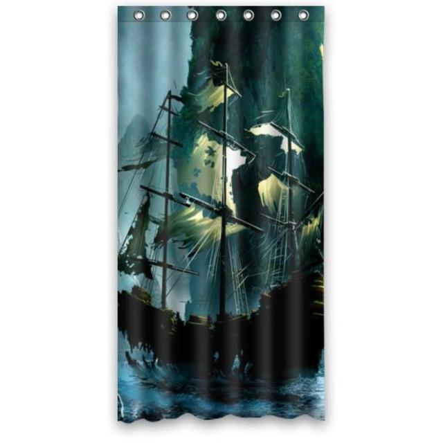 Charmant Special Design Cute Nautical Vintage Sailing Pirate Ship Theme Waterproof  Bathroom Custom Shower Curtain Bathroom Decor