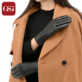2016 New GSG Black Genuine Leather Gloves For  Women TouchScreen Gloves Wool Lining With 3 Buttons Ladies Winter Gloves