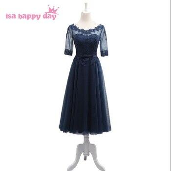 e707dd955f05a Lacivert korse gömme homecomming çay partisi özel durum çay uzunluğu resmi elbiseler  balo elbisesi için özel durum H4059
