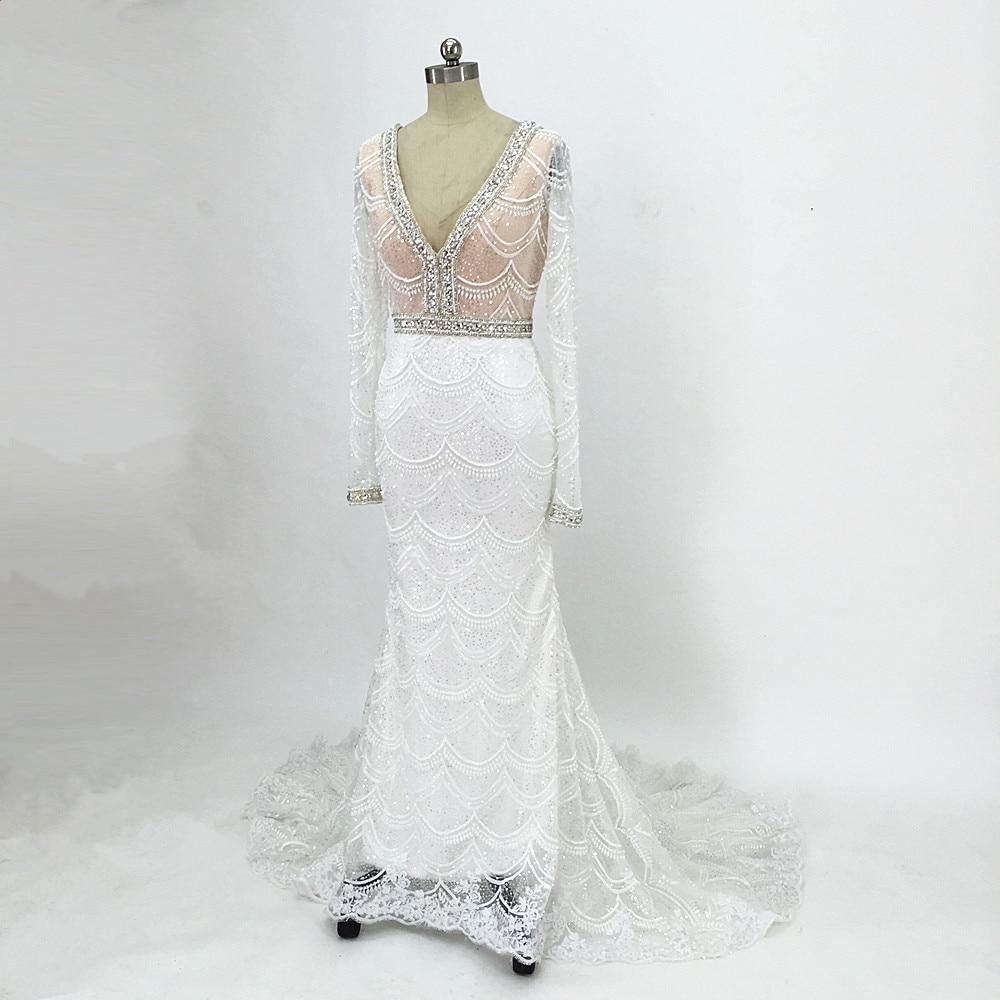 Champagne sjöjungfru snörning brudklänning 2017 Backless Vestidos - Bröllopsklänningar - Foto 4