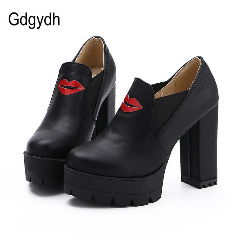 Gdgydh Fashion Platform Women Shoes Thick Heels High Female Single Shoes Casual Round Toe Pumps Slip-on Shoes Autumn Big Size  big size eur 34 50 thick heels round toe single shoes spring autumn high heel women shoes fashion pumps lace up low shoes ox119