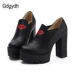 Gdgydh fashion platform women shoes thick heels high female single shoes casual round toe pumps slip.jpg 250x250