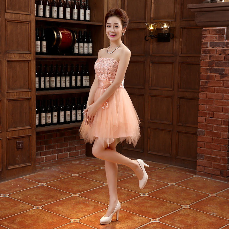 2016 New Arrival Evening Dresses Elegant A-Line Strapless Bride Gown Ball Prom Party Homecoming/Graduation Short Formal Dress
