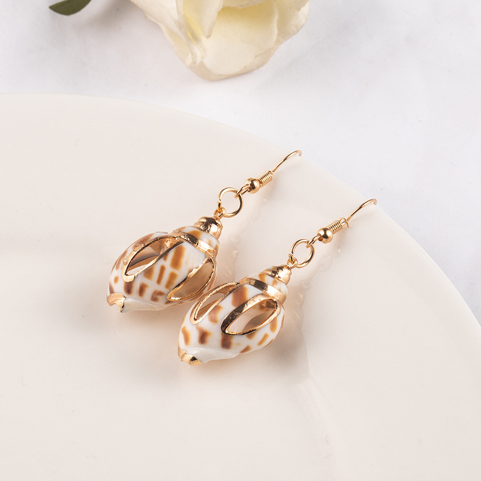 Sea Conch Shell Dangle Earrings Jewelry for Women Gold Silver Color Metal Earrings Summer Gifts Wedding Party Statement Earing (5)