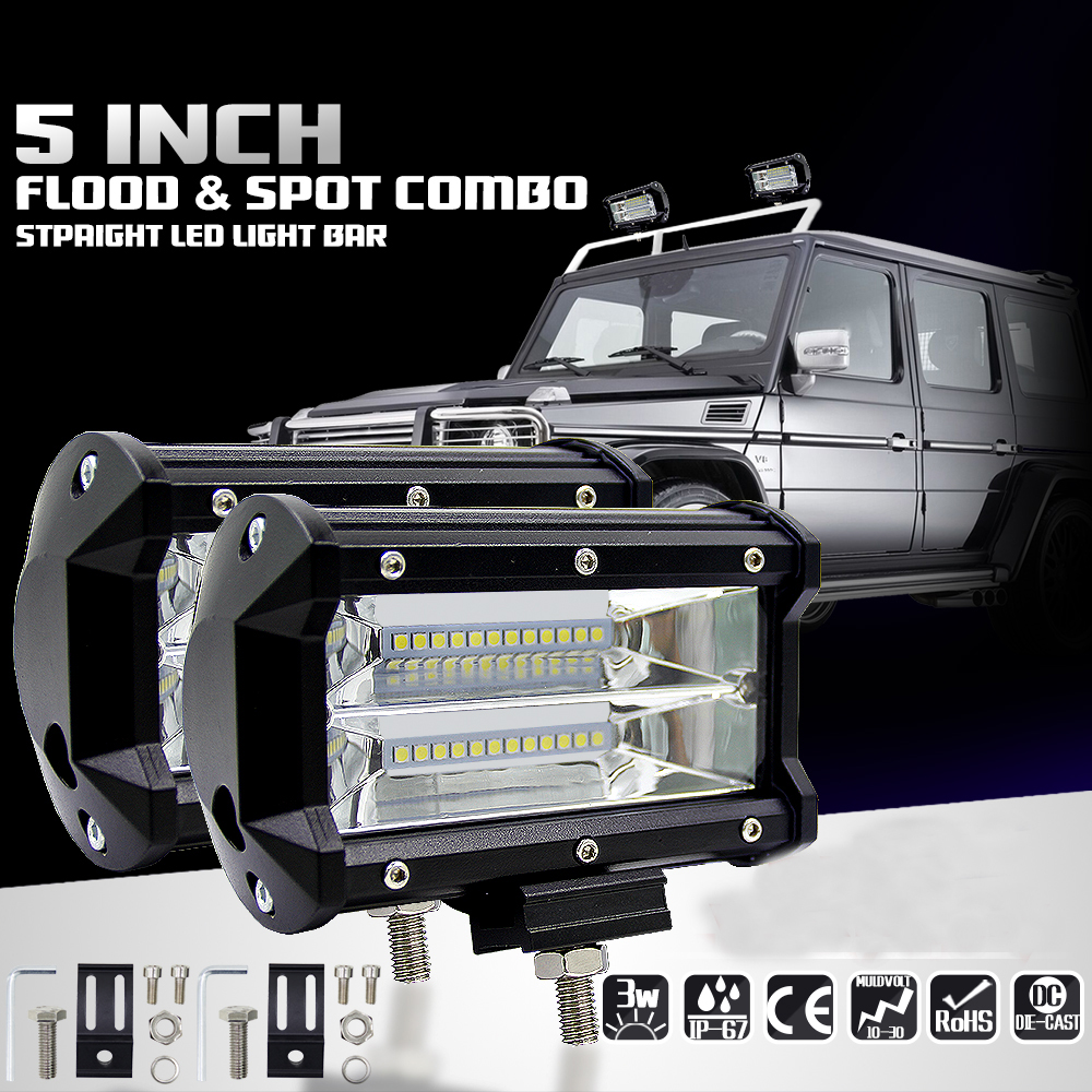 Car Sytling Work Light 12V Work Lamp Tractor Work Light Bar 72W 6000K with CREE LED Chip 5 inch Car LED Lamp Bulb for bmw e46 waterproof 72w 4300lm 6000k 24 led white light car work project diy light bar dc 10 30v