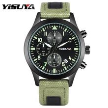 Yisuya Модный Спортивный Хронограф Мужские кварцевые наручные часы Холст Группа световой секундомер Дисплей Циферблат Открытый мужской Часы подарок