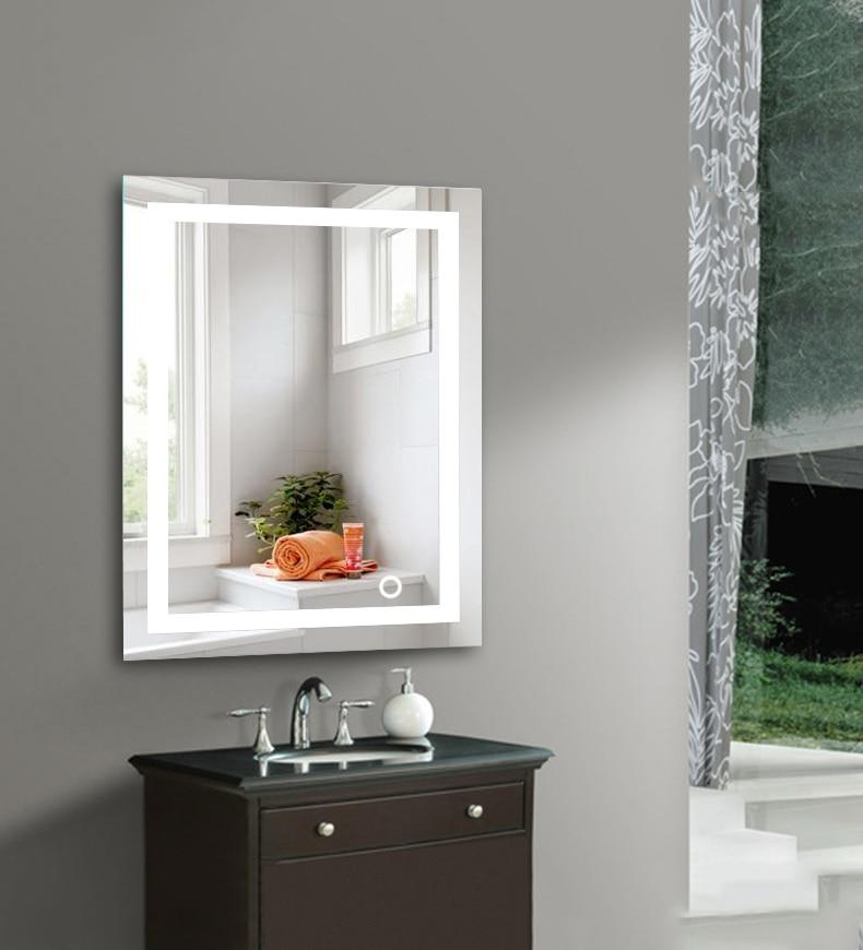 LED 5050 جدار الحمام مضاءة جدار جبل ماكياج مع مرآة لمسة زر جديد للمنزل فندق الحمام أنيق HWC-في ألعاب الجمال والأزياء من الألعاب والهوايات على  مجموعة 3