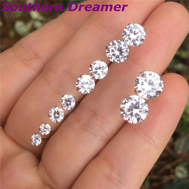 Genuine 925 Sterling Silver Stud Earrings For Womens Round Cz Stones Crystal Mens Small 3 4