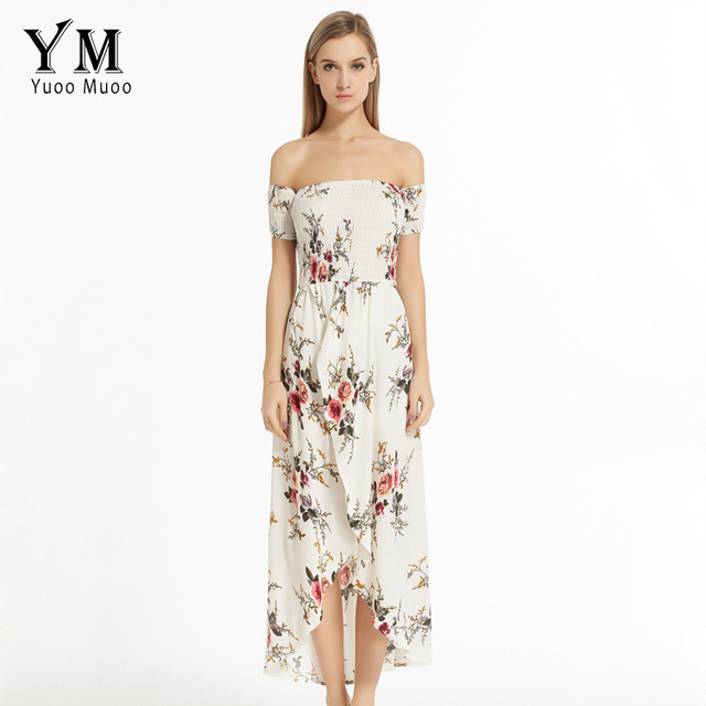 YuooMuoo New European Fashion Women Summer Maxi Dress Brand Off Shoulder  Beach Dress Women Chiffon Long Boho Dress Vestidos eb7778387d2e