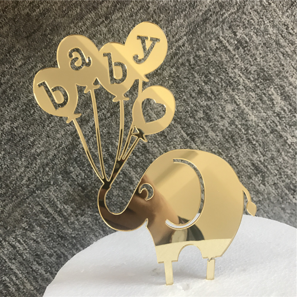 Free Shipping Baby Elephant Baby Shower Cake Topper Gift Mirror Gold Acrylic Cake Topper Baby First Birthday Cake Decoration