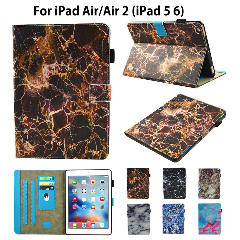 Marble Pattern Flip Cover For Apple iPad air air2 ipad 5 6 Case Funda Tablet Soft TPU Silicone PU Leather Stand Skin Shell full clear transparent tpu back case cover silicone for apple ipad air 2 9 7 protective skin for ipad 6 cases tablet m2c42d
