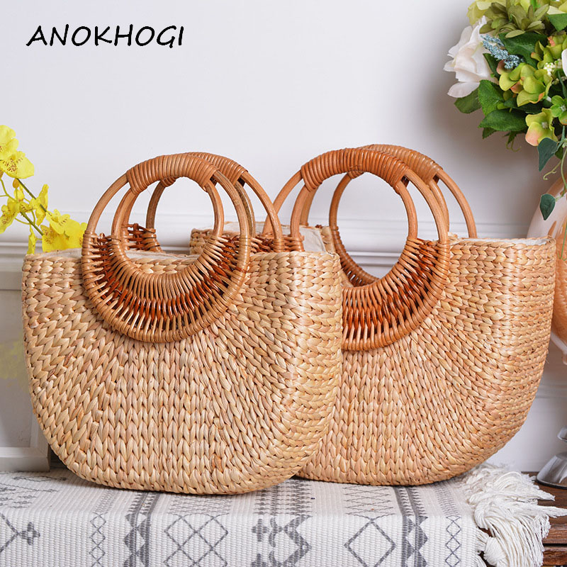 Half Moon Rattan Handmade Women Tote Bags Handbag Straw Woven Bohemia Beach Holiday Top-handles B445