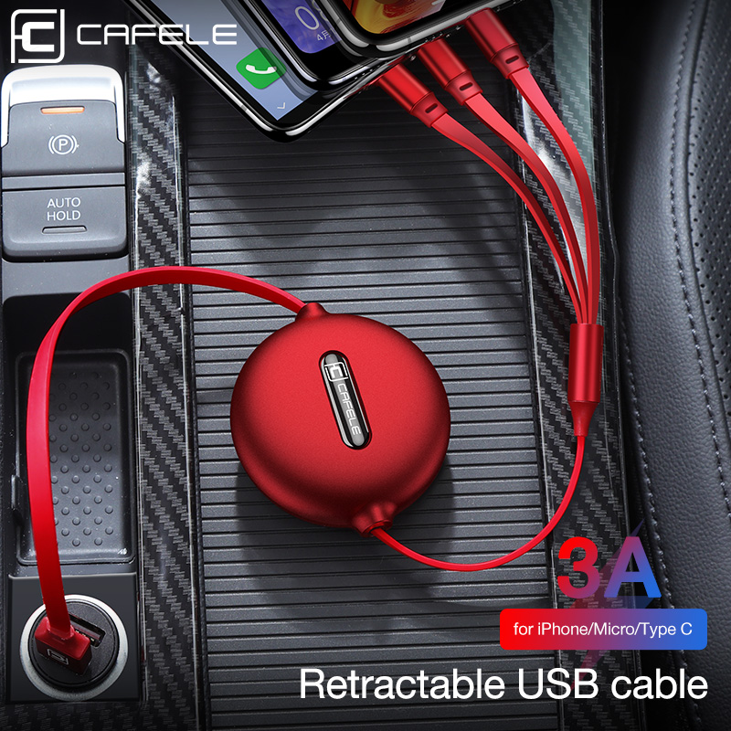 Cafele 3in1 USB Type C Micro USB <font><b>Cable</b></font> Type-c for iPhone Charger <font><b>Cable</b></font> 120cm <font><b>3A</b></font> Fast Charging USB C <font><b>Cable</b></font> image