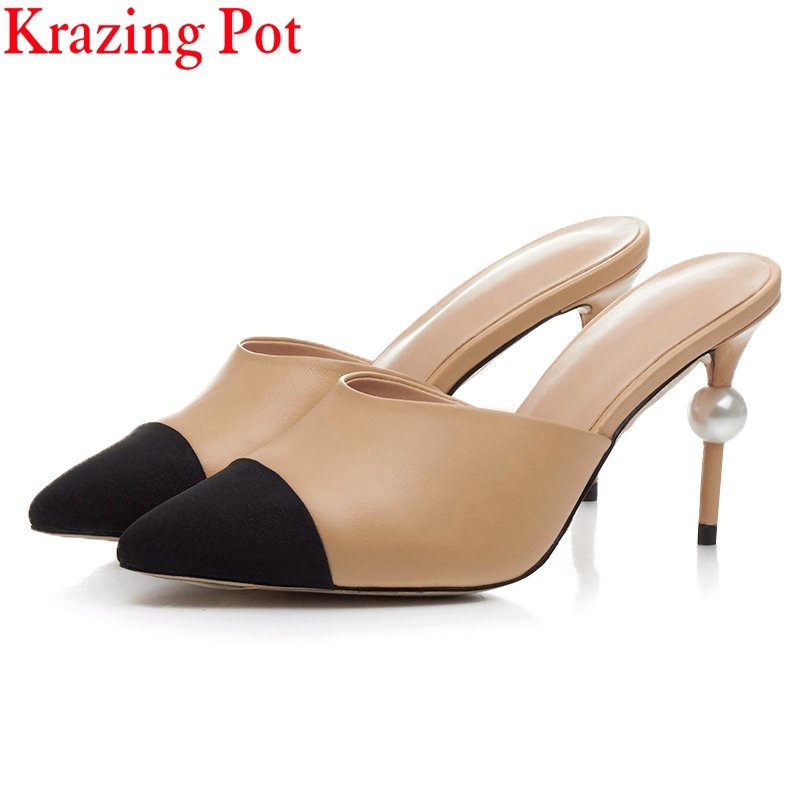 2017 Superstar Pointed Toe Pearl Mules Slingback High Heels Brand Shoes Woman Sandals Runway Mixed Colors Fashion Slippers L19 фонарь фаzа af6 l19 sr