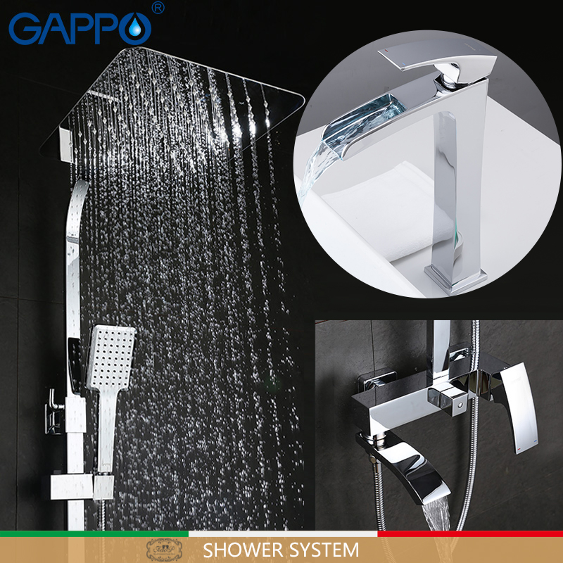 GAPPO Shower system chrome bath faucet mixers set shower with basin brass bathroom