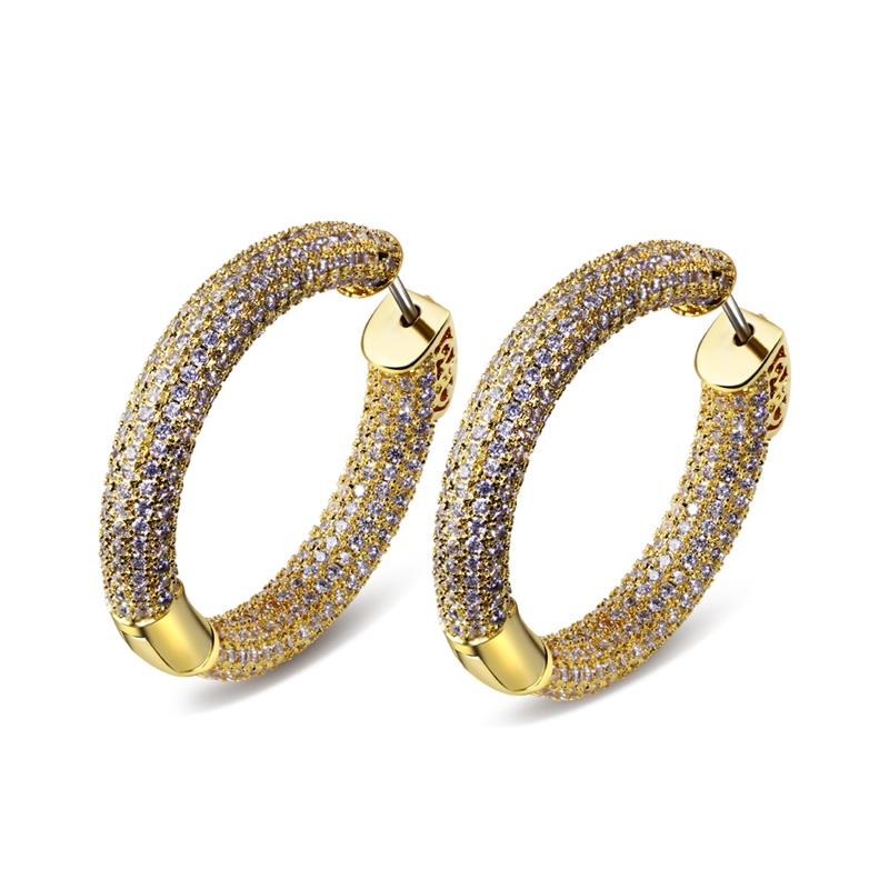 New Design Top Popular Circle Earrings AAA Cubic Zircon Simple Big Gold Color 32mm Hoop Earring For Women Hip Hop Charm Jewelry pair of simple asymmeteric circle solid color earrings for women