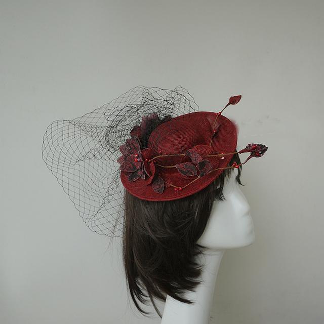 Chapéus Do Casamento Para Noivas Vermelho escuro Do Vintage Véu Chapéus Flores com Malha de Alta Qualidade Coroa Chapéus Do Partido Do Vintage Das Mulheres Negras chapéu