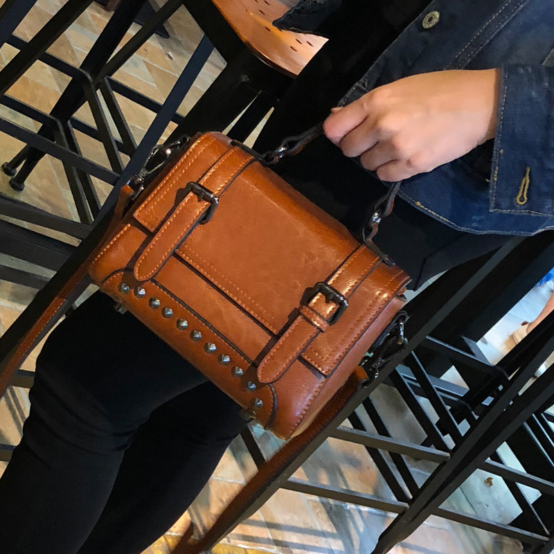Bag Female Women's Rivet Genuine Leather Bags Handbags Crossbody Bag for Women Shoulder Bags Genuine Leather Bolsa Feminina Tote niuboa bag female women s 100% genuine leather bag handle handbag crossbody women shoulder bags real leather bolsa feminina tote