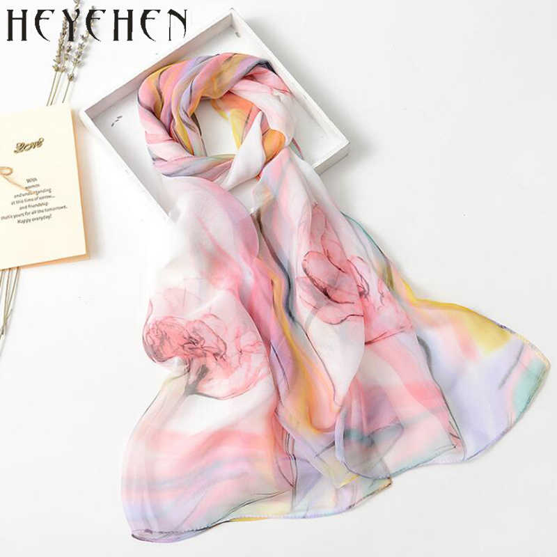 2017 New Design Chiffon Georgette Lenço De Seda Tulipa Flor Gradiente de Cor Summber Praia Sarong Cachecol & Shawl Bandana HY27