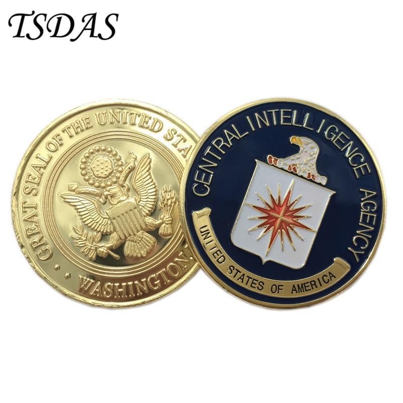 """ארה""""ב (מרכז המודיעין) CIA מטבע 40G / PC, מטבע זהב טהור צבעוני 40 * 3mm מטבע מתכת צבאית כמו מטבע הנצחה"""