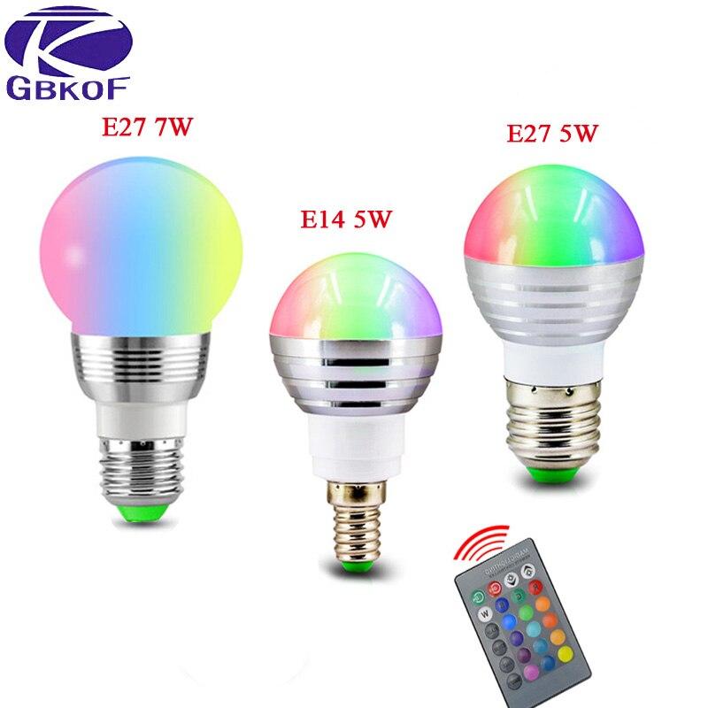 5W/7W RGB Lamp LED Bulb E27 E14 85-265V colorful RGB LED Lamp Spotlight Lamparas LED Light Bulb E14 Spot Luz Christmas Lampadas
