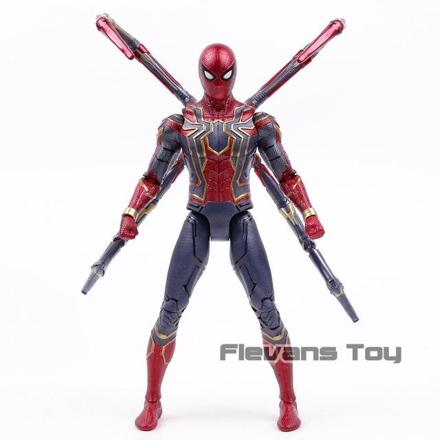 Vingadores Marvel Guerra Infinita Spiderman Aranha De Ferro PVC com Luz LED Action Figure Collectible Modelo Toy Presente