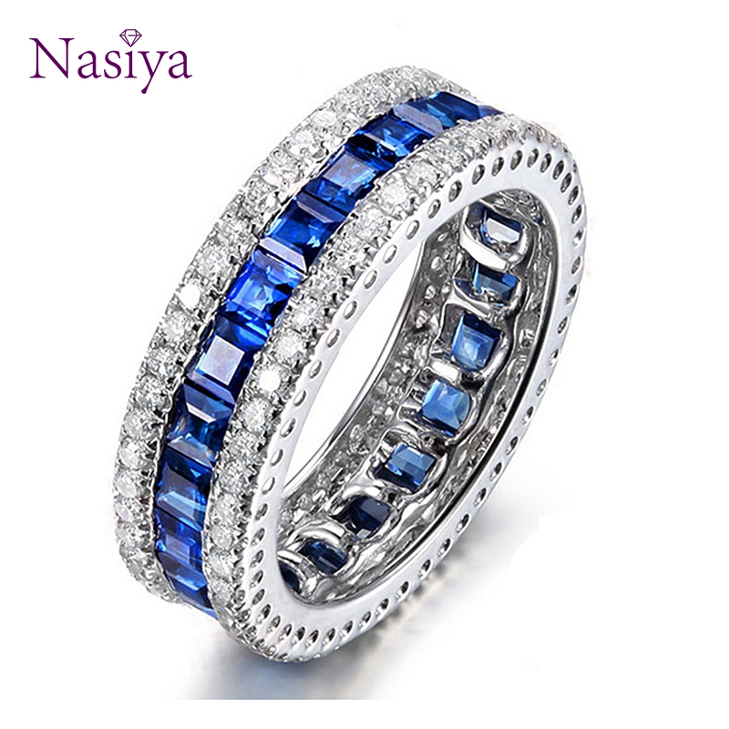 925 Sterling Silver Band Rings For Women Solitaire Blue Spinel CZ Vintage Antique Wedding Fine Silver Jewelry Valentines Gift
