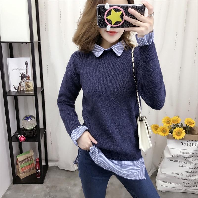 7796 - Korean Shirt Collar Sweater Sweater Slim 42-8 Color Rendering