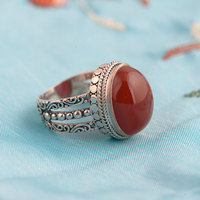 FNJ 925 Silver Round Rings for Women Jewelry Fashion Natural Red Stone Pure S925 Sterling Solid Thai Silver Ring Size 6 8