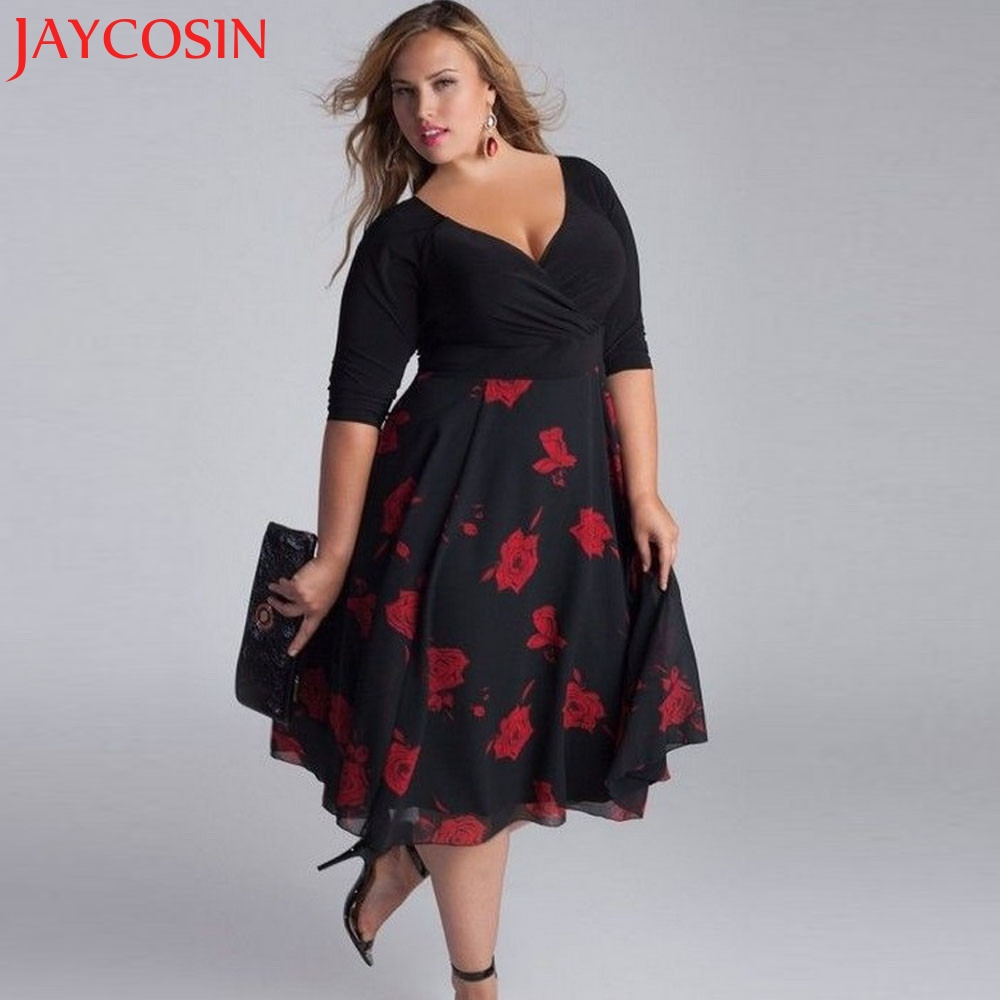 JAYCOSIN SIF2018 Mode Femmes Plus Taille Sexy Col V Floral Maxi Soirée Boho Plage Robe Meilleur Pour Les Femmes Drop Shipping 123