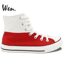 Wen Hand Painted Men Women's Shoes Design Custom Poland Flag High Top Canvas Sneakers for Birthday Gifts