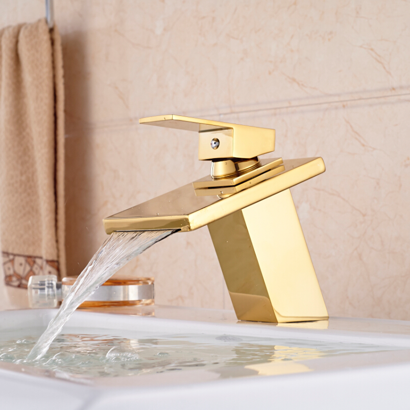 Deck Mount Golden Brass Waterfall Square Basin Sink Faucet Single Lever One Hole Cold Hot Water Mixer Taps micoe hot and cold water basin faucet mixer single handle single hole modern style chrome tap square multi function m hc203