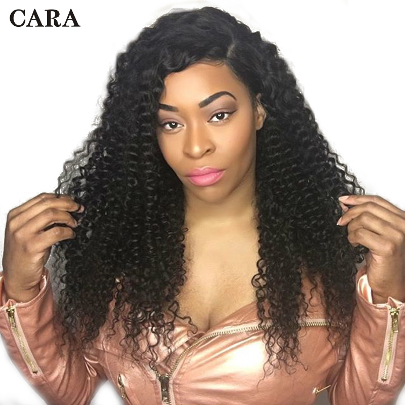 Glueless Brazilian Lace Front Wig Kinky Curly Human Hair Wigs For Women Pre Plucked 130% Density Natural Black Remy Hair Wig