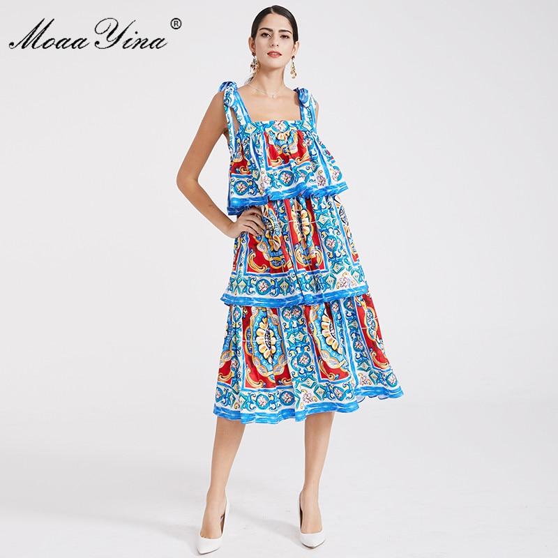 Femmes Moaayina Spaghetti Plage Robe Piste Backless D'été Designer Imprimer Fashion Bleu Cascading Strap Ruffle Bohême 4qwRqxX