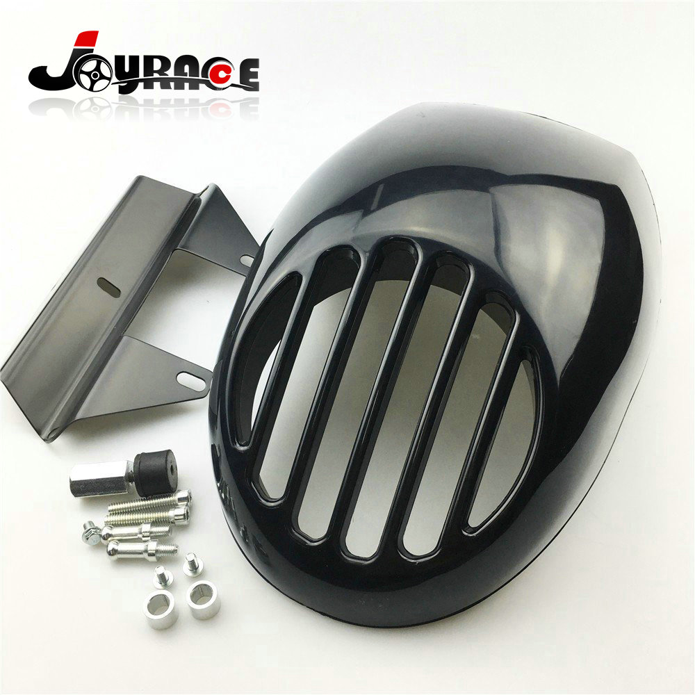 Motorcycle Cafe Racer Drage Fork Grille Grill Cover Front Visor Headlight Fairing Cowl for Harley Sportster XL883 XL1200 Dyna for dyna sportster fx xl 39mm cafe racer grille style prison cowl headlight mask front fairing flyscreen fly screen visor