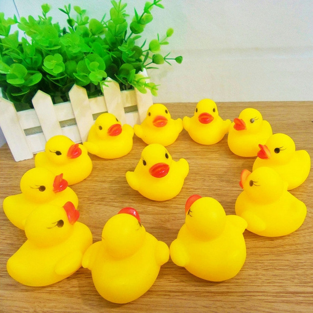 3PCS Classic Toys Cute Rubber Little Yellow Duck Girl Boy Baby Toy Bath Bathing