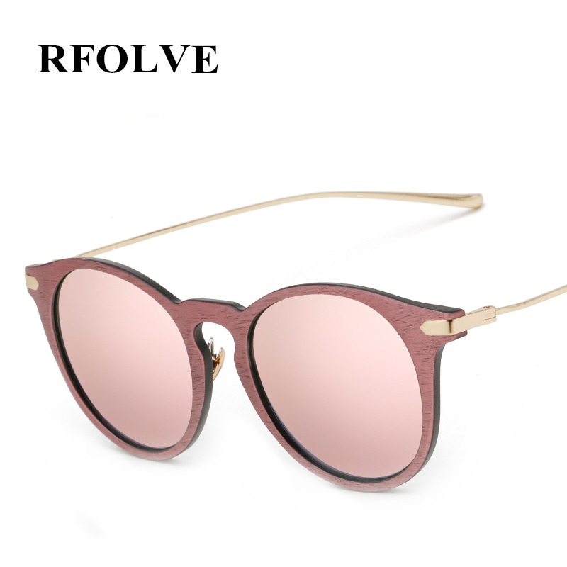 RFOLVE Newly Round Women Sun glasses Fashion Brand Design Imitation Wood Frame Sun glasses Oculos de Sol Masculino UV400