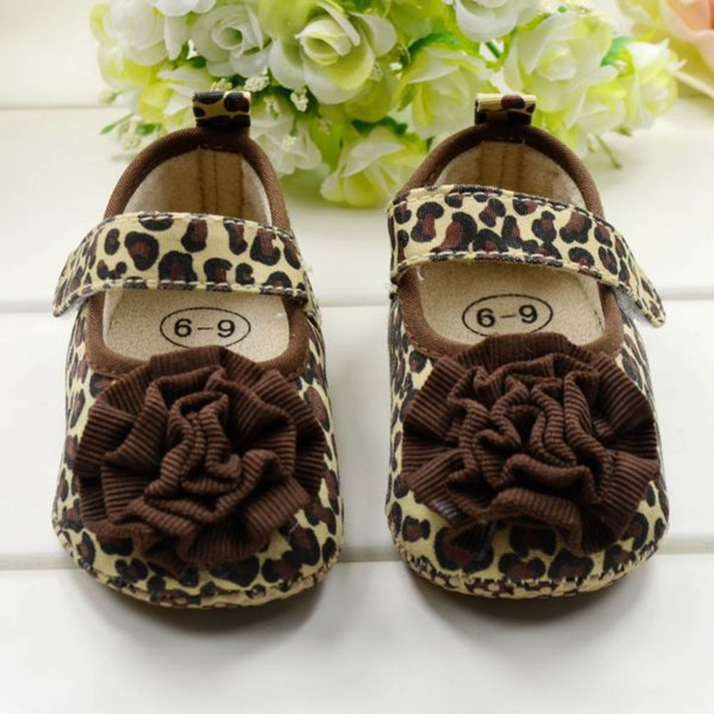 Hot Sales Baby First Walker Brown Leopard Flower Baby Girl Shoes