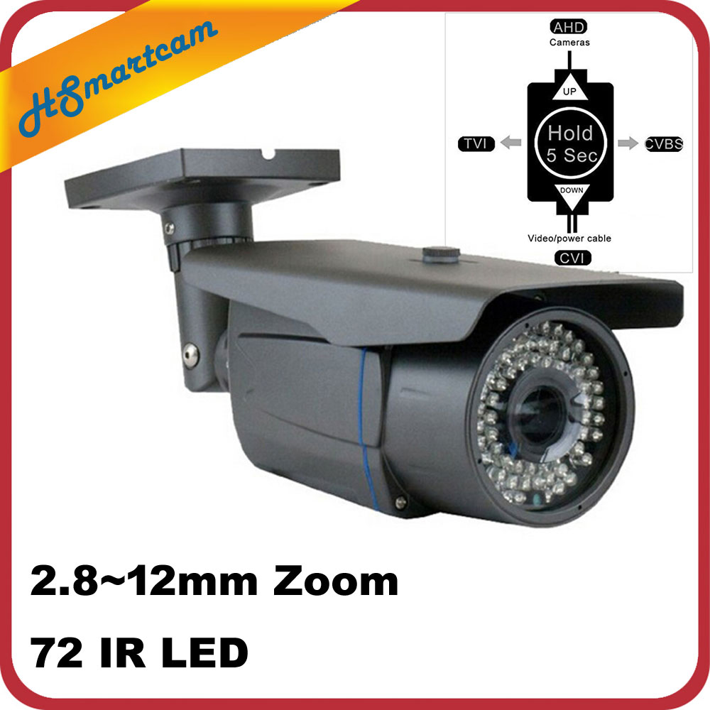 Outdoor Waterproof 1200TVL HD Camera 2.8-12mm Zoom Varifocal CCTV Camera 72 IR LED 1080P AHD TVI CVI Analog 4 IN 1 OSD Camera 4 in 1 ir high speed dome camera ahd tvi cvi cvbs 1080p output ir night vision 150m ptz dome camera with wiper