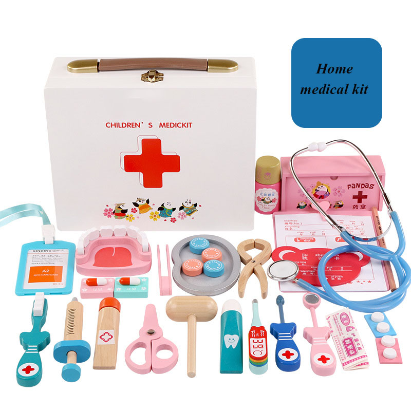 Children's simulation play house toy doctor toy nurse injection wooden box medicine box boy girl gift set aimy child toy doctor box set doctor play set toy with sound and lightsm138o