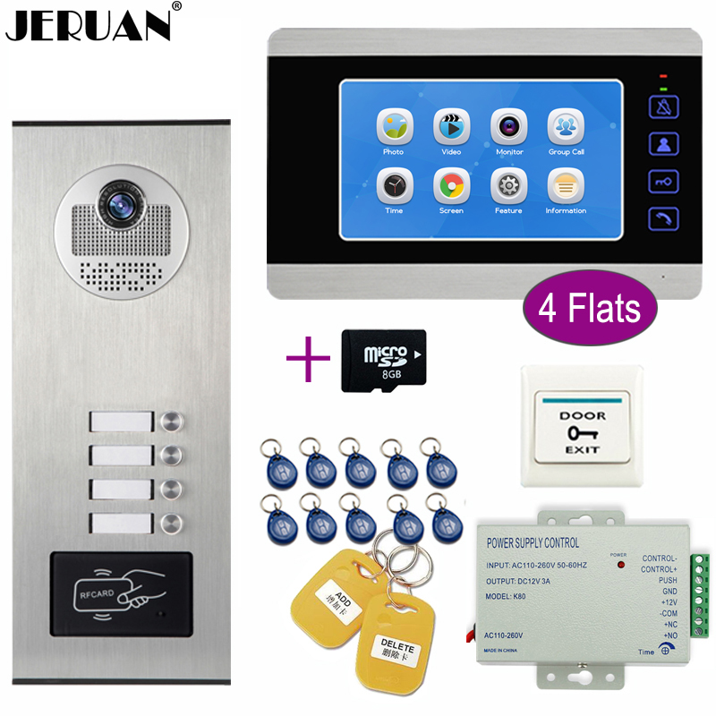 JERUAN Apartment 7`` LCD Video Doorbell Door Phone Video/Voice Record Intercom system Kit HD RFID Access Camera For 4 Households jeruan wired 9 inch video doorbell door phone intercom system kit hd rfid access camera for 6 households apartment in stock