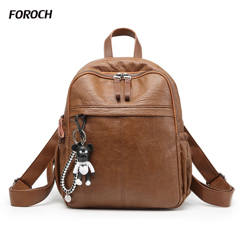 FOROCH New Fashion Travel Backpack Korean Women Female Rucksack Leisure Student School bag Soft PU+Genuine Leather Women Bag 179 swdvogan new travel backpack korean women rucksack pocket genuine leather men shoulder bags student school bag soft backpacks