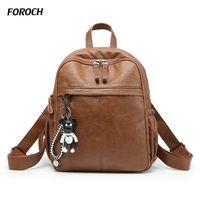 FOROCH New Fashion Travel Backpack Korean Women Female Rucksack Leisure Student School Bag Soft PU Genuine